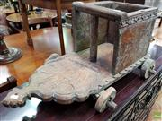 Sale 8580 - Lot 1068 - Timber Carved Magazine Stand on Wheels