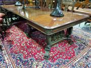 Sale 8653 - Lot 1002 - Late 19th Century American Carved Walnut Extension Dining Table, with five leaves, on six turned spiral legs with castors