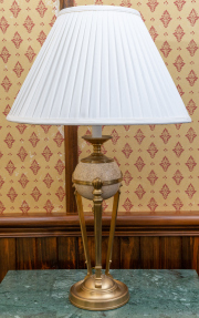 Sale 8677B - Lot 884 - A pair of Empire style brass and ceramic lamps with ivory pleated shades total height x 74cm