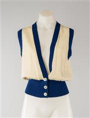 Sale 8740F - Lot 180 - A vintage Valentino Boutique lambswool blend knit vest in cream and royal blue, size XL