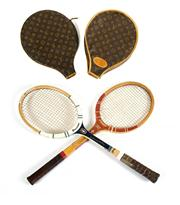 Sale 8828A - Lot 25 - A pair of circa 1970s French tennis rackets with vintage French Louis Vuitton covers