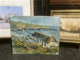 Sale 9123 - Lot 2068 - Artist Unknown Boatshed, oil on canvas, 41 x 51 cm, initialled E.P lower right