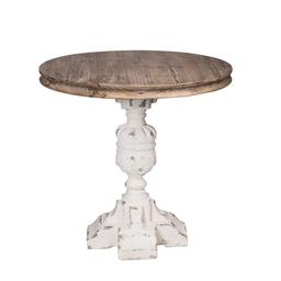 Sale 9140F - Lot 110 - A rustic, French farmhouse style round side table with a solid fir wood top. The body features a soft white lightly distressed finis...