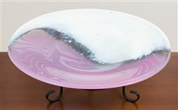 Sale 9140H - Lot 15 - A large pink and cream glass centrebowl raised on metal tripod base, Diameter 46cm