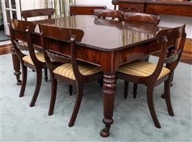Sale 9195H - Lot 27 - A C19th mahogany extension dining table with two additional leaves, on castors on stands, Height 75cm x Width 152.5cm (fully extende...