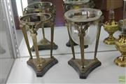Sale 8217 - Lot 85 - French 19th Century Brass Candle Holders On Marble Bases One Missing Glass