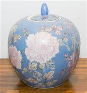 Sale 8308A - Lot 171 - An oriental ceramic ginger jar with lid, painted with blooming chrysanthemum on sky blue ground, H 28cm