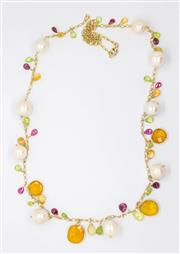 Sale 8265 - Lot 369 - A PEARL AND GEMSET NECKLACE; large freshwater pearls and briolette and chequerboard rubies, citrine peridot and other stones.