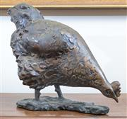 Sale 8800 - Lot 8 - An impressive bronze figure of a feeding chicken, H 32 x L 30cm, by Henry Moores principal assistant, Jan Brown