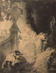 Sale 8350E - Lot 28 - Norman Lindsay (1879 - 1969) - Nights Garden, 1927 34 x 26cm (frame size 64 x 53cm)