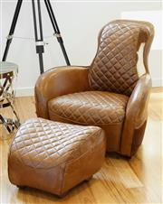 Sale 8450 - Lot 34 - Leather Equestrian Chair and Foot Stool, W 93cm x D 162cm x H 95cm, as new.