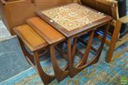 Sale 8528 - Lot 1031 - G-Plan Teak Nest of Tables with Tiled Top