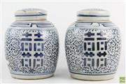 Sale 8578 - Lot 35 - Blue and white Pair Of Ginger Jars