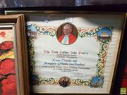 Sale 8573 - Lot 2071 - Framed Apostolic Blessing from Pope John Paul II for a 50th Wedding Anniversary