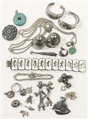 Sale 8644A - Lot 44 - A quantity of mainly silver items including salt and pepper pots, half hoop earrings, chain bracelets, figural brooches, charms, but...