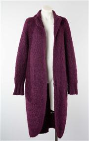 Sale 8740F - Lot 131 - An Italian made, full-length mohair wool-blend knit jacket in plum, approx size medium/large