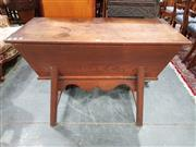 Sale 8774 - Lot 1034 - French Elm Dough Bin, with cover, tapering body & splayed legs with stretchers