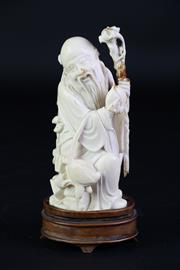 Sale 8902C - Lot 640 - An Early 20th Century Carved Ivory Figure of Shoulao (H 16cm, Has been repaired)