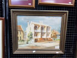 Sale 9127 - Lot 2024 - Sue Angus Terrace Triplets, North Sydney oil on canvas board, 46 x 55cm (frame) signed lower left