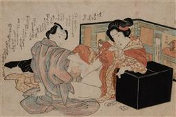 Sale 9161A - Lot 5075 - UTAGAWA SCHOOL - Lovers Behind a Screen (From an Unidentified Series) 22 x 31 cm (frame: 43 x 58 x 3 cm)