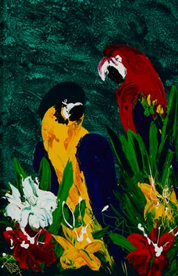 Sale 9178 - Lot 588 - DEAN VELLA (1958 - ) Parrots On Green oil and acrylic on board 74.5 x 49.5 cm (frame: 110 x 85 x 4 cm) signed lower left