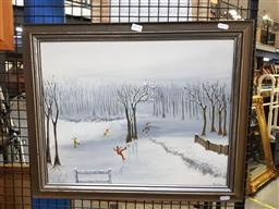 Sale 9155 - Lot 2098 - Richter Ice Skaters, oil on board, frame: 47 x 56 cm, signed lower right -