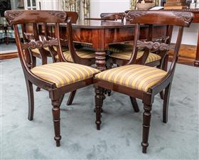 Sale 9195H - Lot 28 - A set of eight bar back dining chairs with striped upholstery, Height 92.5cm x Width 45.5cm x Depth 50cm