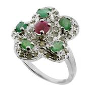 Sale 8060B - Lot 333 - A STERLING SILVER GEM SET RING; central ruby surrounded by 5 emeralds, single and table cut diamonds. Size Q.