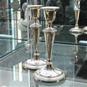 Sale 8304 - Lot 3 - English Hallmarked Sterling Silver Pair of Candlesticks