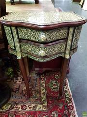 Sale 8562 - Lot 1008 - Mother of Pearl Inlaid Side Table with Two Drawers