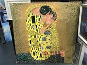 Sale 8779 - Lot 2054 - Artist Unknown - The Kiss After Gustav Klimt, acrylic on canvas, 110 x 110cm, signed lower right