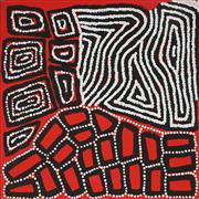 Sale 8862A - Lot 548 - Warlimpirrnga, Walala & Thomas Tjapaltjarri (c1958, c1960, c1964) - Tingari 46 x 46cm (stretched and ready to hang)