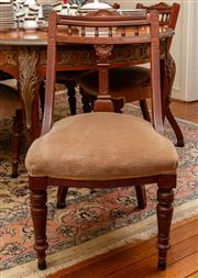 Sale 8882H - Lot 35 - A set of six Victorian walnut dining chairs with faun velvet upholstery and turned legs. Some faults.