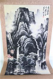 Sale 8909S - Lot 619 - Black Mountain And River Chinese Scroll