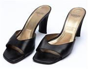 Sale 9010H - Lot 86 - A pair of vintage Charles Jourdan square toe, slip ons in black leather, size 10