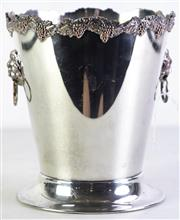 Sale 8960 - Lot 69 - A Silver Plated Twin Ring Lion Mask Handle Champagne Bucket (H 21cm Dia 19cm)