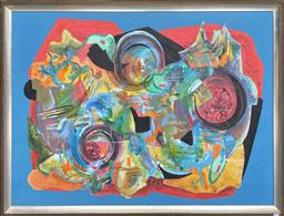 Sale 9135 - Lot 2021 - Valda Morris Untitled (Abstract) oil on board, 101 x 131cm (frame) signed lower right