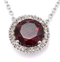 Sale 9182 - Lot 326 - A SILVER CLUSTER PENDANT NECKLACE; centring a round cut rhodolite garnet of approx. 1.72ct to a surround of white topaz, width 10.3m...