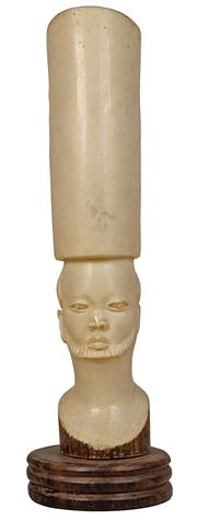 Sale 7978 - Lot 80 - Ivory Carved Vase of an African Man