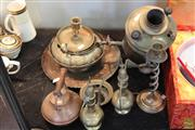 Sale 8217 - Lot 105 - Brass Teapots with Other Brass Wares incl Candle Stand