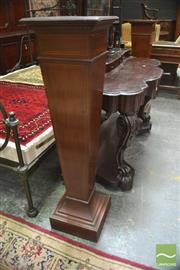 Sale 8291 - Lot 1047 - Two Similar Late Victorian Inlaid Mahogany Pedestals, on inverted tapering form