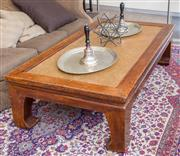 Sale 8310A - Lot 44 - An oriental style coffee table manufactured from recycled timber with a rattan insert to top raised on four bracket feet. Height 51...