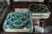 Sale 8304 - Lot 17 - Chinese Green Glaze Pair of Pierced Tiles