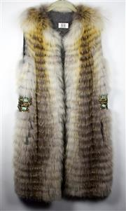 Sale 8460F - Lot 65 - A Gasparre Cashmere full length ethical fox fur gillet with beaded detail to sides, lined with 100% grey cashmere, one size fits most