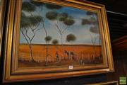 Sale 8464 - Lot 2093 - Anthony Denaro, Stockman, oil painting, 42 x 60cm, signed lower right