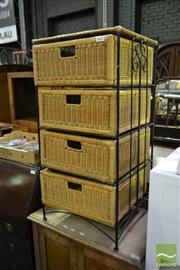 Sale 8499 - Lot 1621 - Small Chest of 4 Wicker Drawers