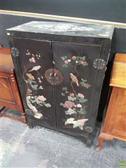 Sale 8593 - Lot 1007 - Oriental Two Door Cabinet with Soap Stone Inlay