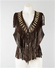 Sale 8740F - Lot 143 - A leather vest with fringing, US size 16 (as new, with tags)