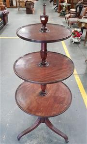 Sale 8993 - Lot 1096 - George III Style Mahogany Round Graduated Dumbwaiter, of three tiers, surmounted by a finial, on turned baluster supports and reeded...