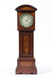 Sale 9010 - Lot 74 - Aird & Thompson Glascow Miniature Grandfather Clock with Key (H:46cm), marked S F to Back of Movement